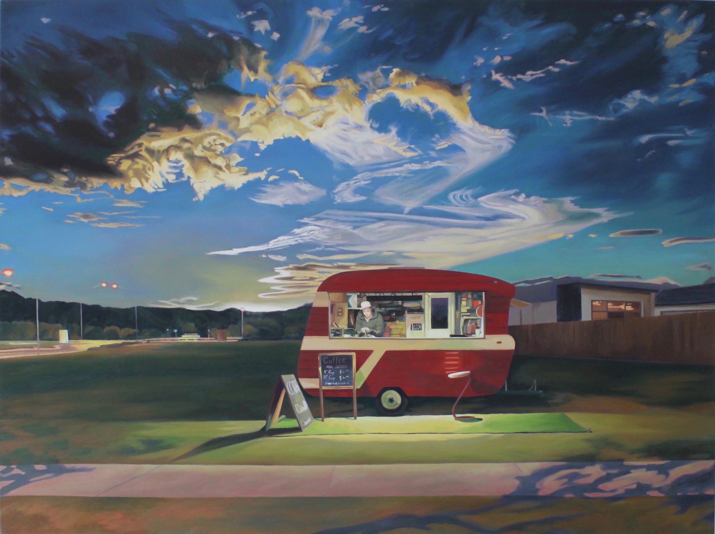 """Casuarina Landscape with Coffee Van"" by Sandra Guy"