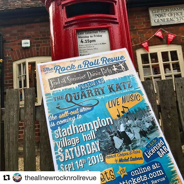 """Hard copy tickets available 👍🏻 #Repost @theallnewrocknrollrevue ・・・ """"🎟Hard Copy tickets for Stadhampton are now available from our friends at Clifton Hampden Post Office 💃🏻🕺🏻 Alternatively, you can click the @wegottickets link in our bio to buy online👆🏻"""""""