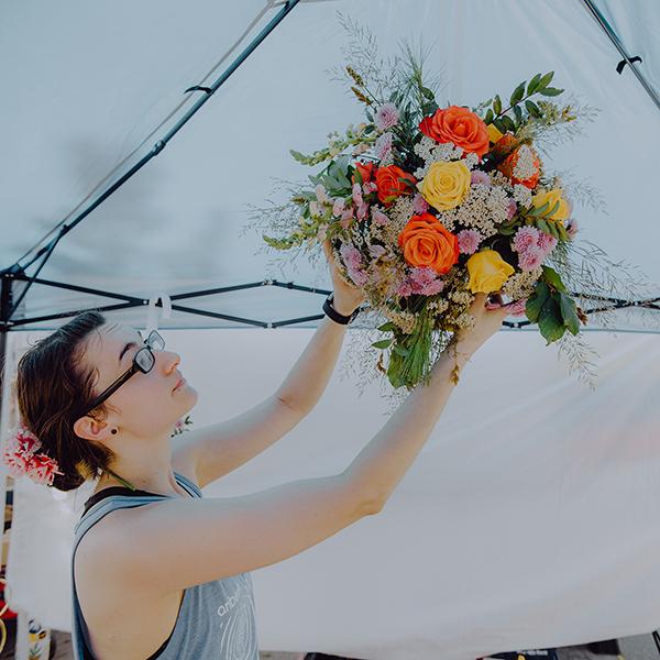2019 New Bedford Folk Fest Hanging Installation  Roses, Yarrow, Chrysanthemum Poms, Snapdragon, Huck, Pine, Barely Photo by  Rickelle Tavares