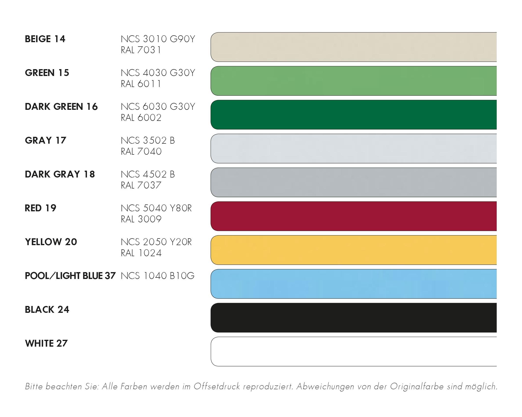 SCANDIPOX SUPER 60 Standardfarbtöne