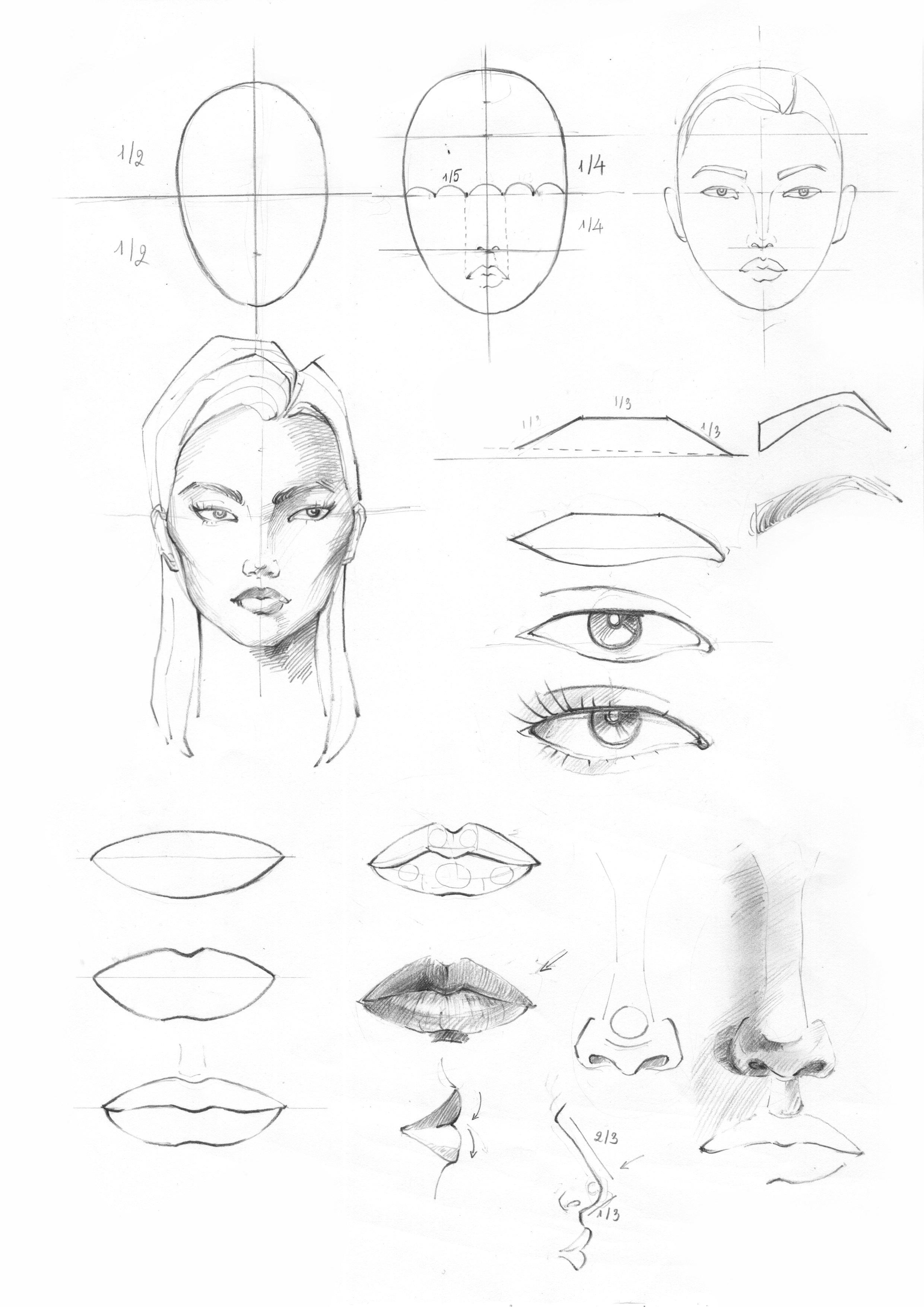 Buổi 3 + 4: Cách vẽ gương mặt - + Hoàn thiện kỹ năng vẽ các bộ phân gương mặt như: mắt, mũi, môi, miệng, lông mày, lông my.+ Học cách vẽ gương mặt Châu Á, Châu Âu, Châu Phi, Châu Mỹ.+ Vẽ gương mặt theo góc nhìn trước, cạnh, 3/4+ Cách tô màu mắt, da và môi