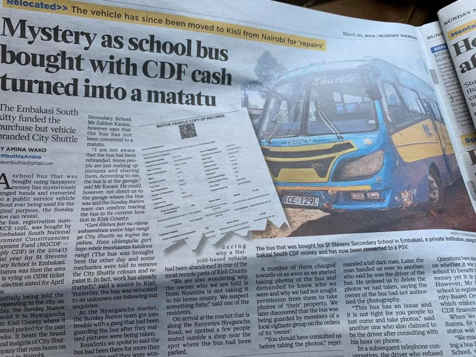 Sunday, March 10 2019,an article on the Daily Nation revealed this shocking story on corruption in Embakasi South