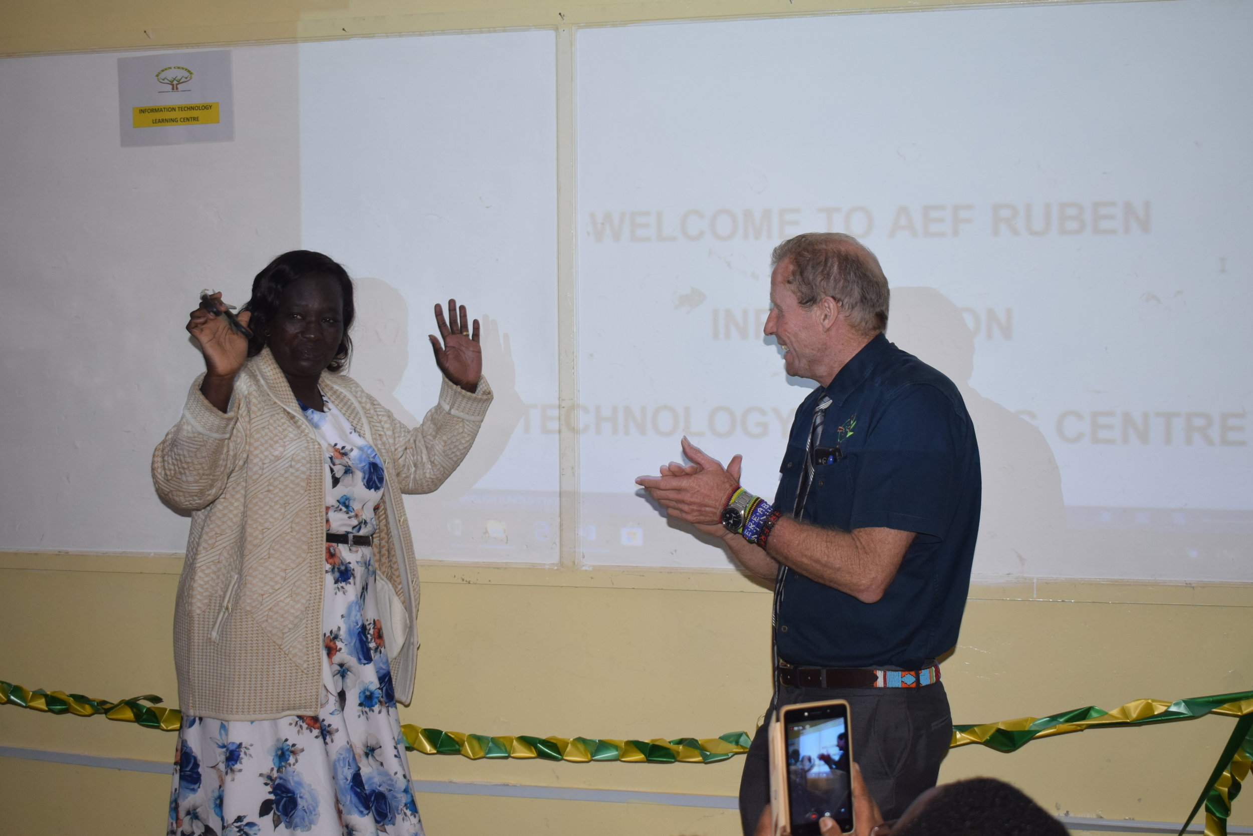 AEF Ruben Primary headteacher Scholastica Opiyo and Centre Director Br. Frank O'Shea during the launch of the new ICT room at the school.