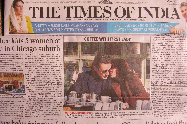 Mumbai - Bombay | The Times of India | President Sarkozy married with Carla Bruni | ©sandrine cohen