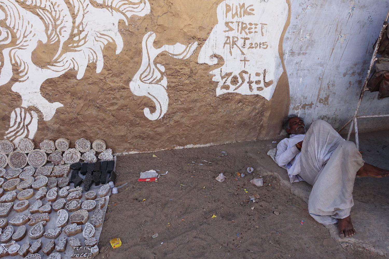 Pushkar | Rajasthan | Indian block textile design | street art Pushkar | ©sandrine cohen