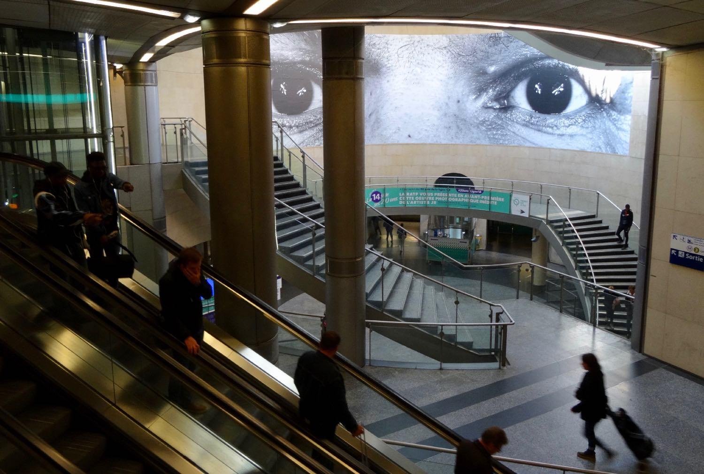 JR artist | RATP | Metro Paris | Station Saint-Lazare | Photographic collage | ©sandrine cohen