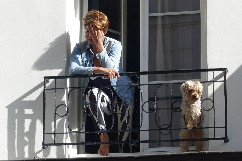 Femme avec son chien à la fenètre   Paris   photo sandrine cohen