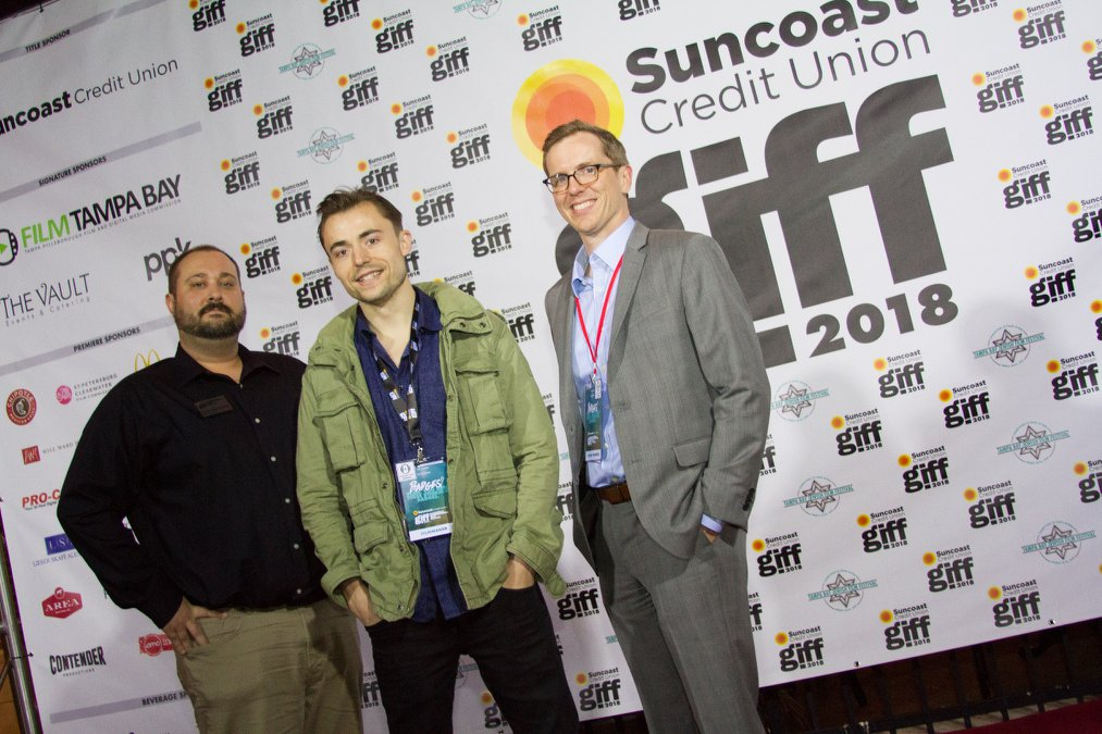 """Trevor Stevens, director of feature film """"Rock Steady Row,"""" with board member Tim Zehnder and Film Commissioner Tyler Martinolich."""