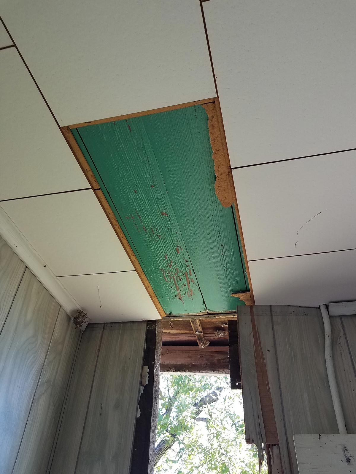 A wooden bedroom ceiling was painted an unexpected jewel tone before it was covered over with a new material, then weather and water damage revealed it again when a section of exterior wall collapsed.