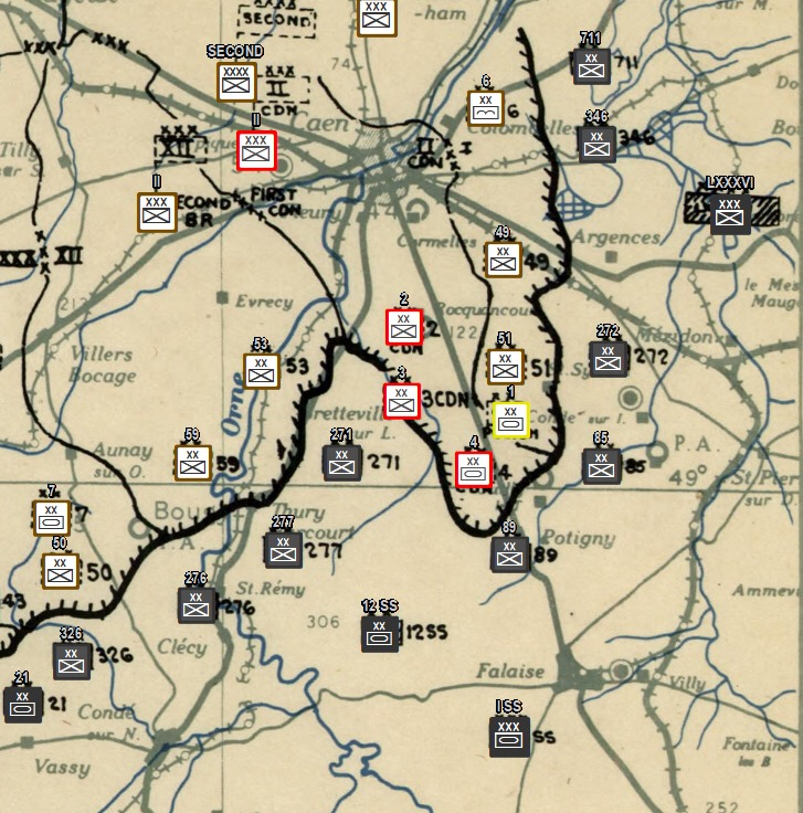 Operation Totalize. First Canadian Army's attempt to close the Falaise Gap and destroy the German Army in Normandy. Twelfth Army Group Situation Map. - Image from Project '44 Alpha.