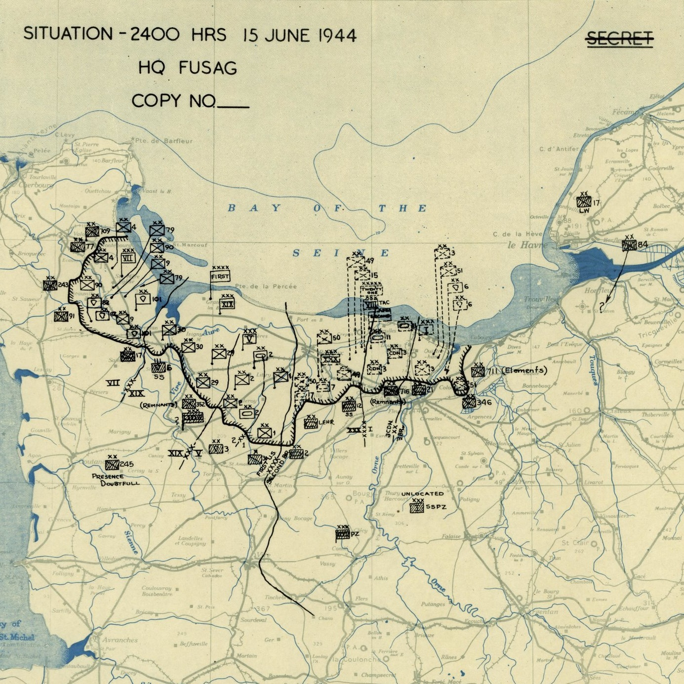 Twelfth Army Group Situation Map 15th of June 1944.