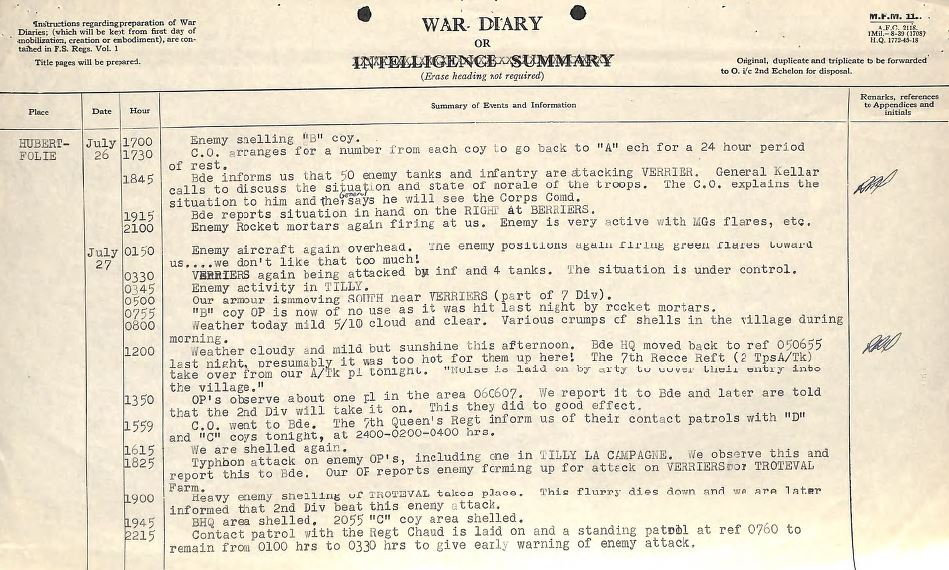 Stormont, Dundas & Glengarry war diary: July 26th to 27th 1944. - CRMA Archives