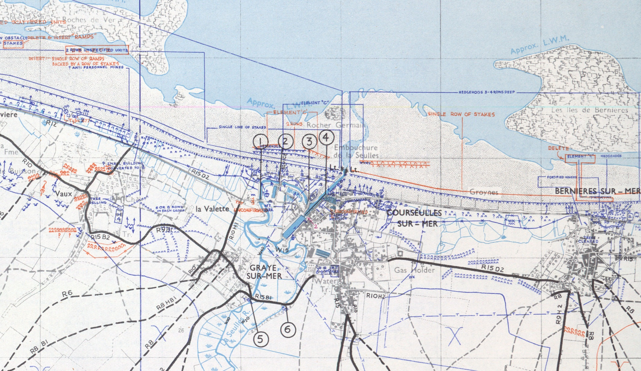 The Defences of Juno Beach. This 1:25,000 scale map shows the landing area of 3rd Canadian Infantry Division, and the intense machine guns, anti tank positions, bunkers and trenches the Canadians had to fight through.