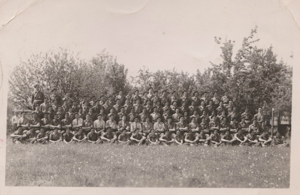 Group photo of B Sqn HQ following Normandy campaign.