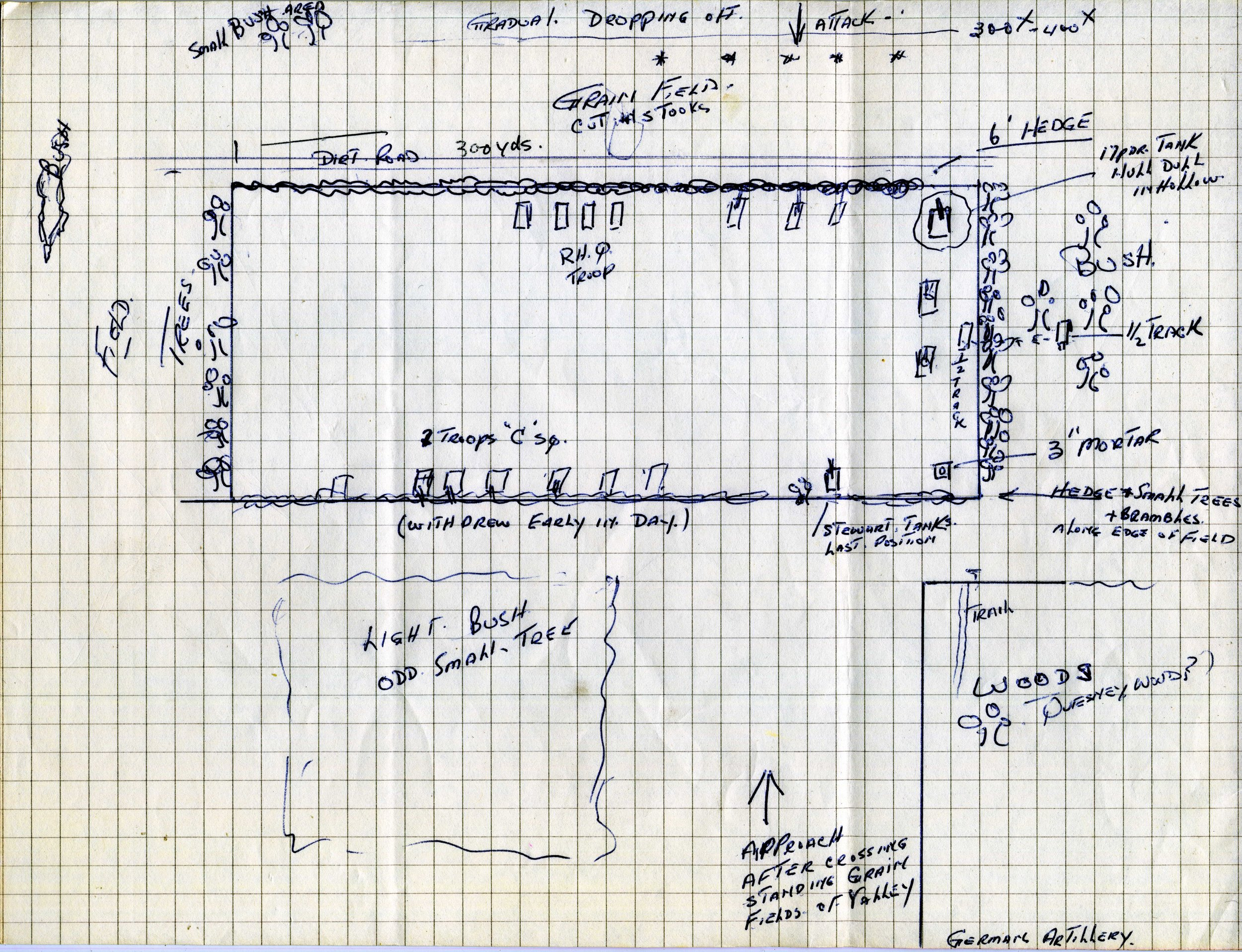 Sketch of Hill 140. Courtesy of the BCR museum and archive.