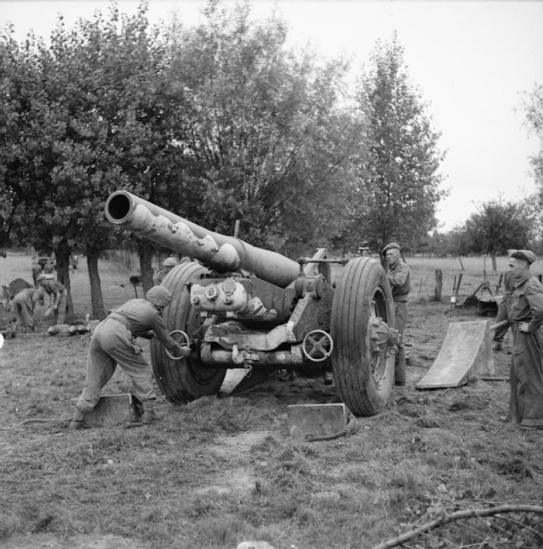 A 7.2-inch howitzer of one of the 59th (Newfoundland) Heavy Regiment's sister units, 51st Heavy Regiment, Royal Artillery, France, 2 September 1944.    © IWM (B 9956)