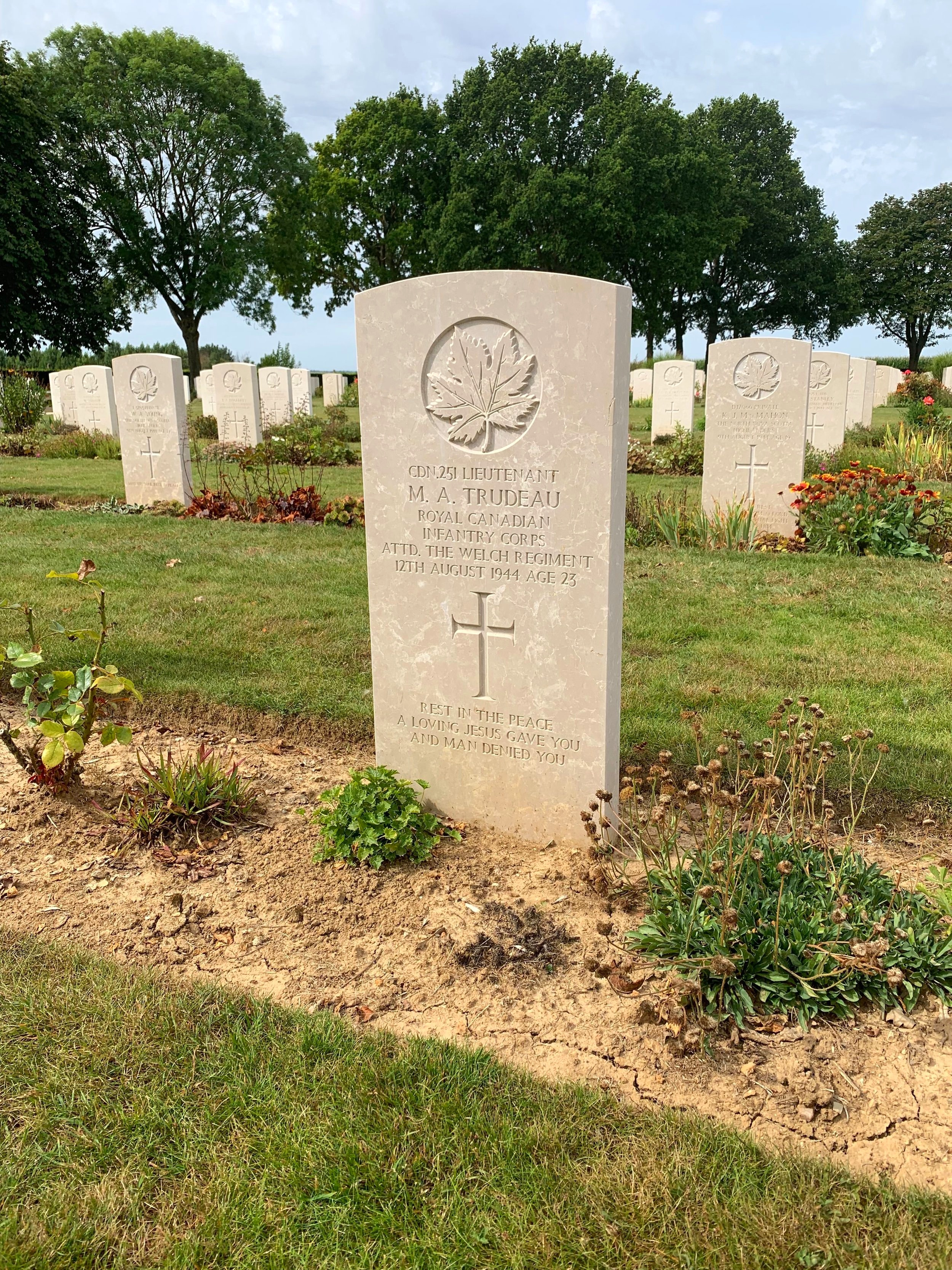 """Lieutenant Maurice Trudeau was one of 75 Canadian officers killed in Normandy while on loan to the British Army. The epitaph on his headstone reads """"Rest in the peace a loving Jesus gave you and man denied you.""""    Courtesy of Jen Sguigna and the Juno Beach Centre Association"""