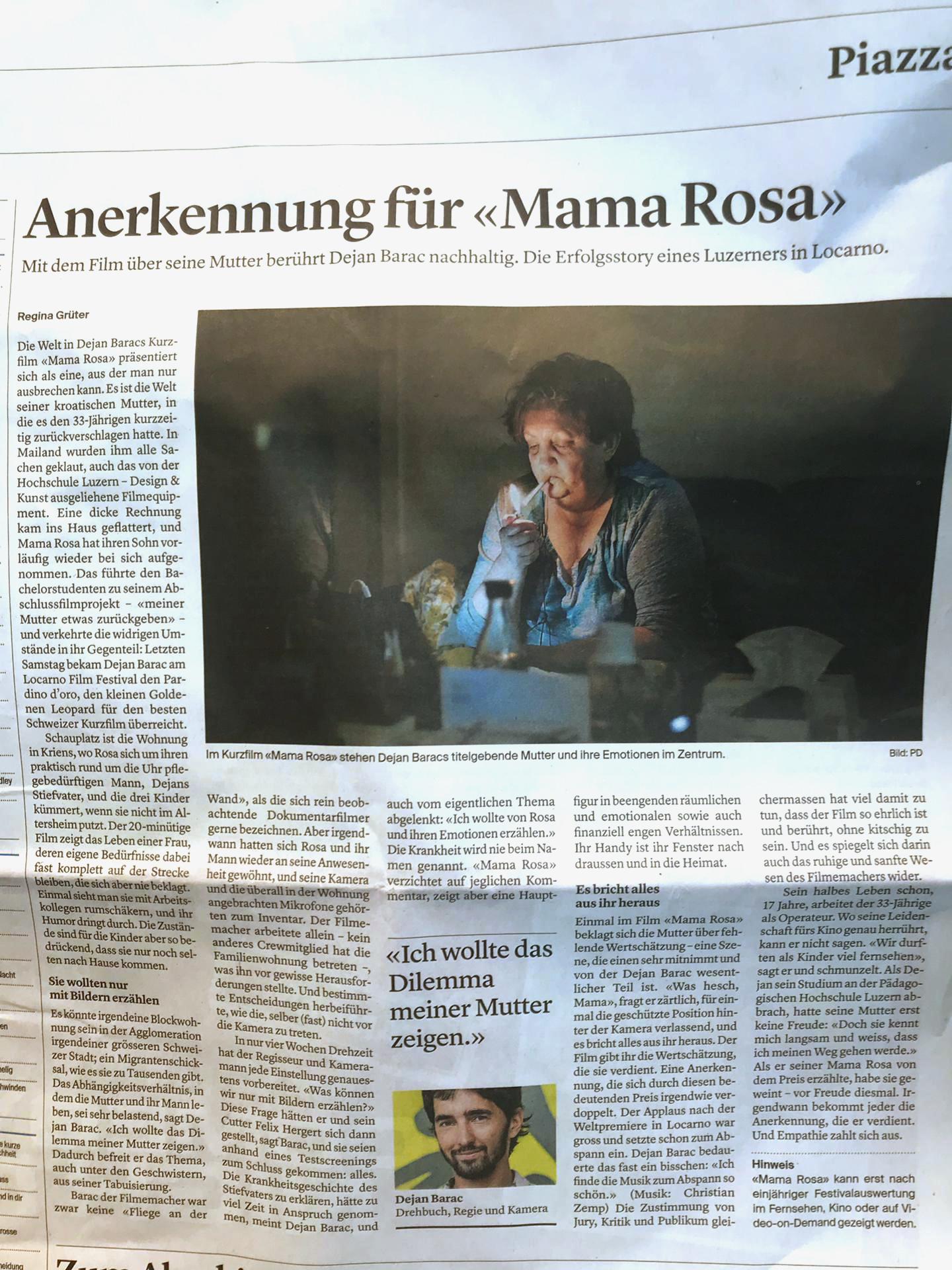 Artikel von Regina Grüter in der Luzerner Zeitung