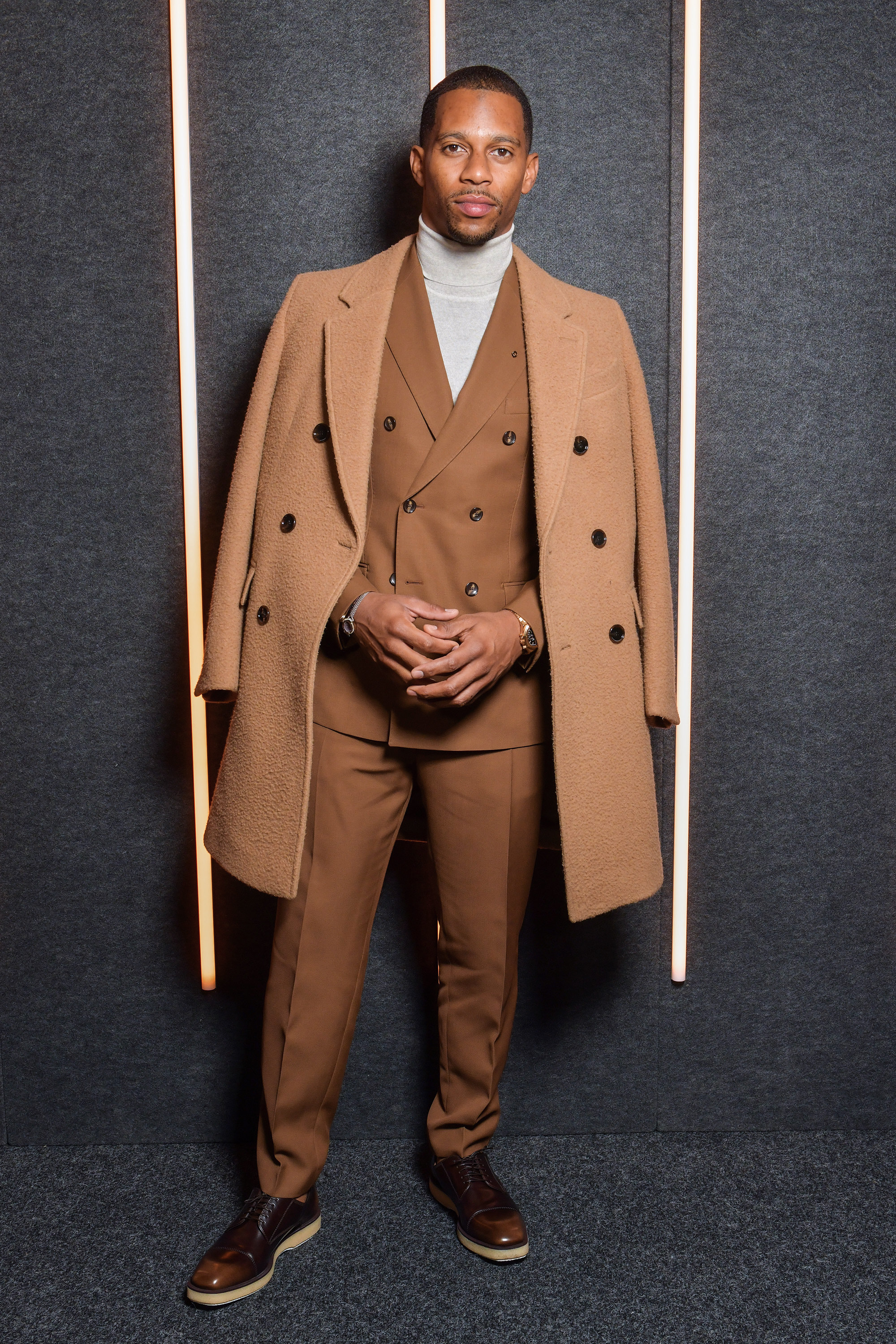 Victor Cruz backstage at the BOSS Fall/Winter 2019 show at Basketball City during New York Fashion Week on Wednesday, February 13, in New York City. Photography, Courtesy of BOSS.