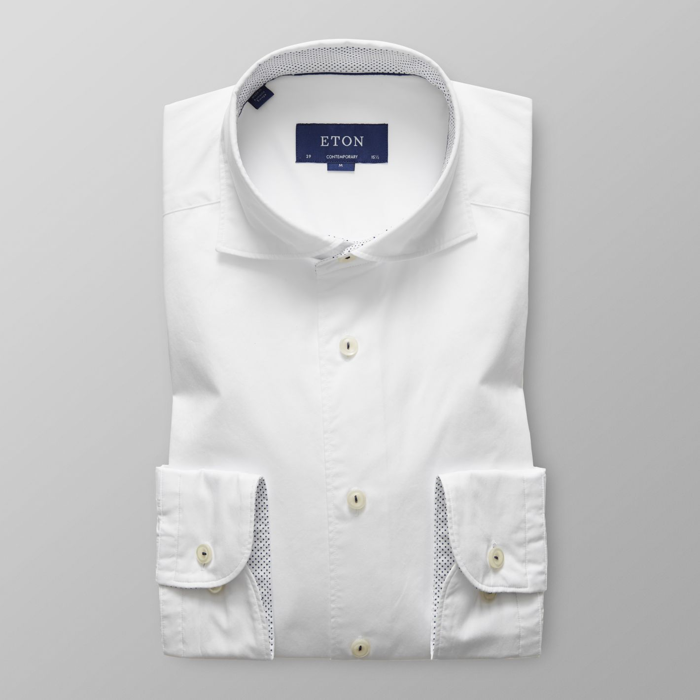 White Contrast Detail Shirt      ETON      $195