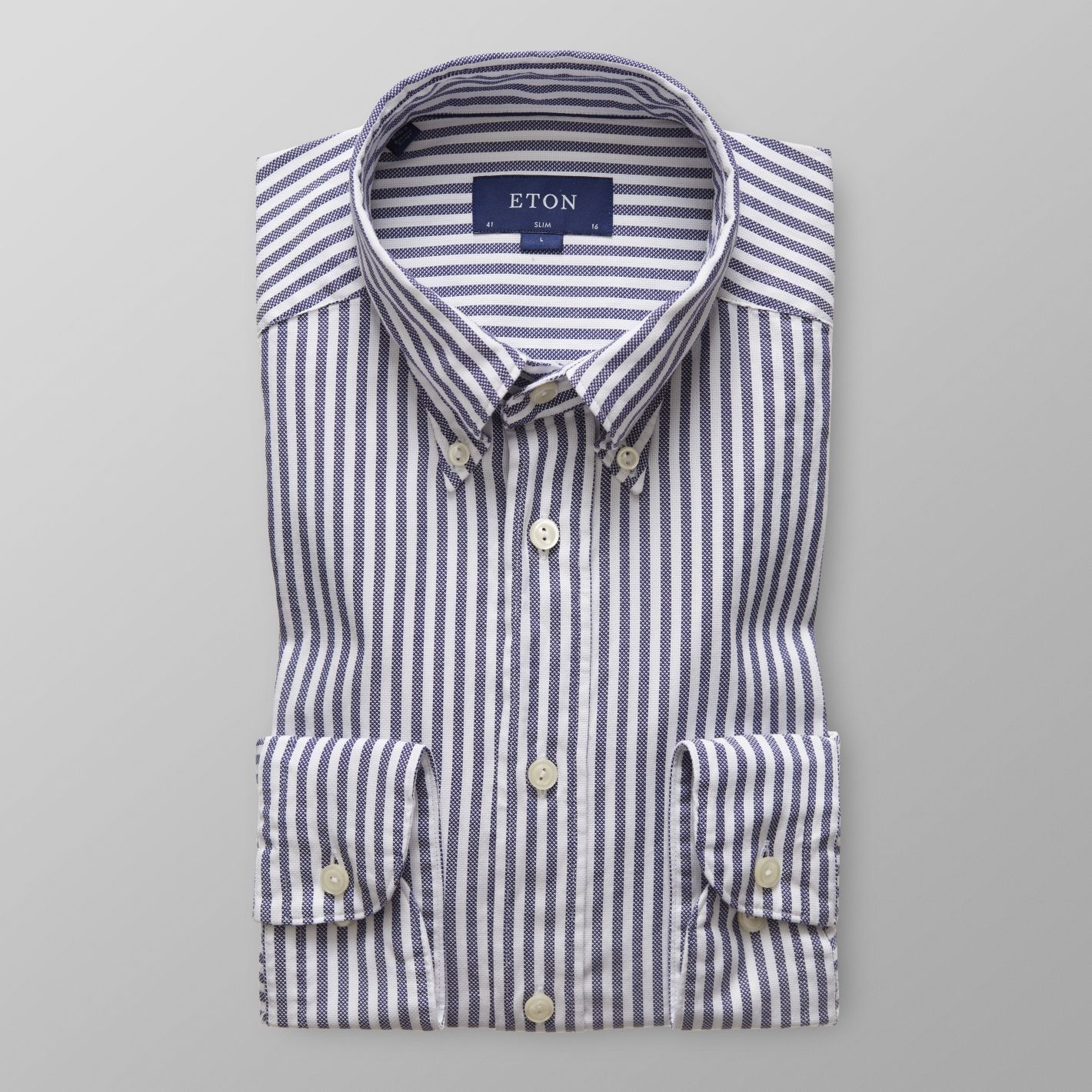 Navy Striped Royal Oxford Shirt      ETON      $185