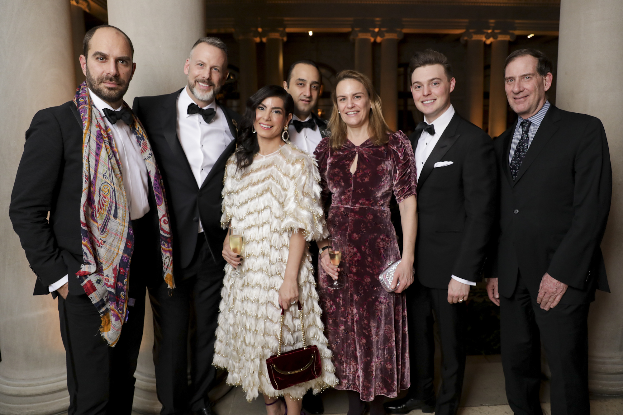 Xavier F. Salomon, Dan Rothmann, Lizzie Asher, Daniel Ezra, Tia Chapman, Cole Harrell, and Ian Wardropper attend The Frick Collection's 20th Annual Young Fellows Ball at 1 East 70th Street on Thursday, March 21st, 2019. Photography, Courtesy of The Frick Collection.