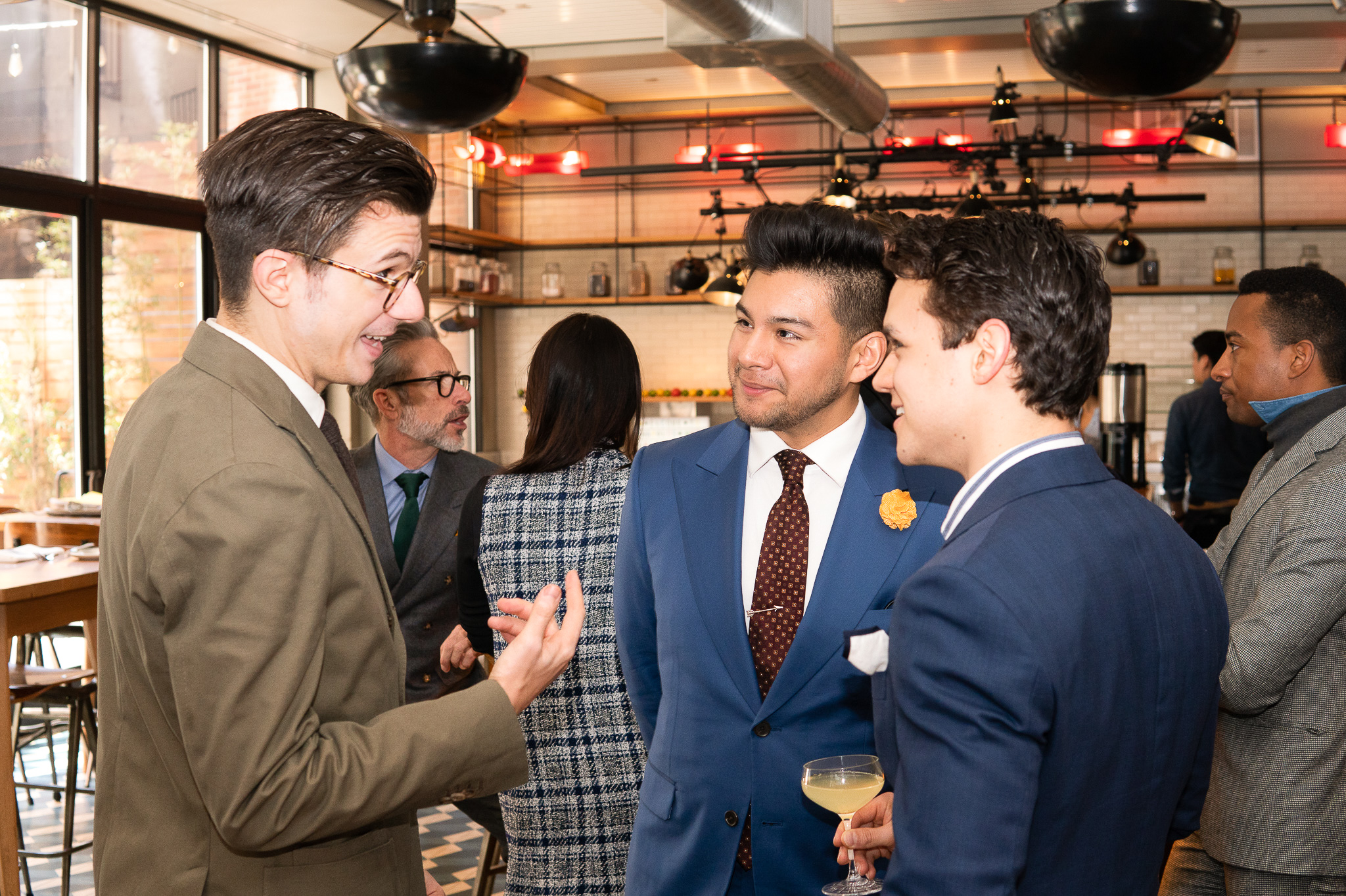 Timothy Jeffreys, Diego Leon, and Adam Gonon attend the BOND OFFICIAL x InStitchu Brunch at Harold's on Saturday, March 23rd, 2019. Photography by, Inexora Media.