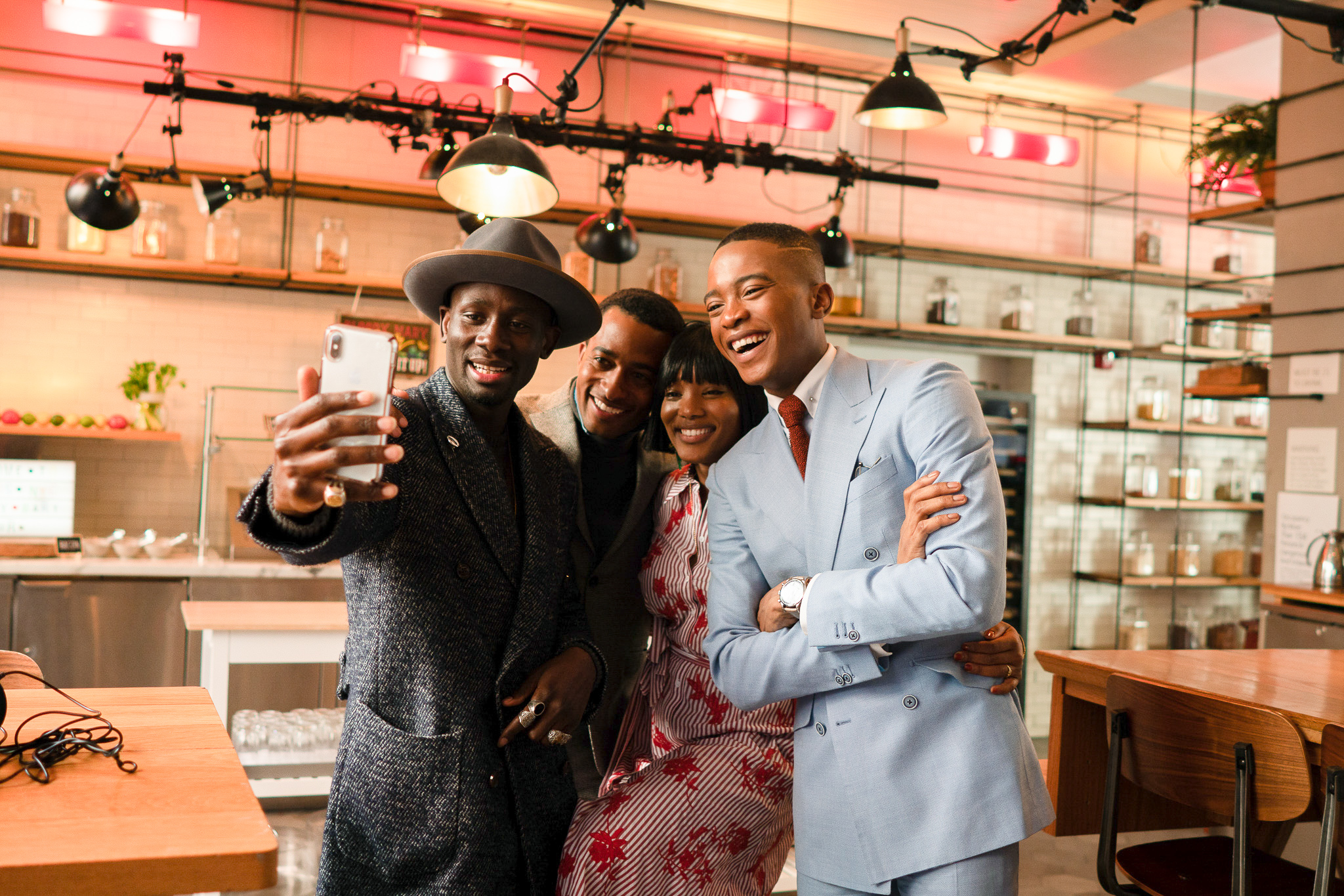 From Left To Right: Salomon DuBois Thiombiano, Marcus Richardson, Delanique Millwood, and Igee Okafor attend the BOND OFFICIAL x InStitchu Brunch at Harold's on Saturday, March 23rd, 2019. Photography by, Inexora Media.