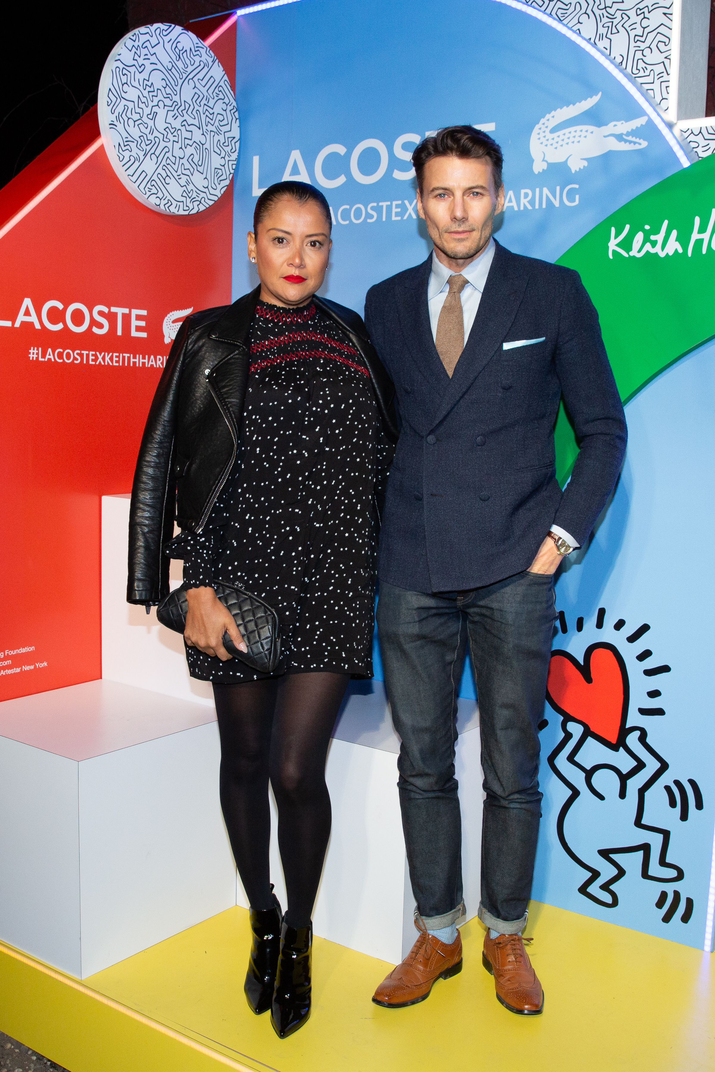 From Left To Right: Keytt Lundqvist, and Alex Lundqvist attend The Lacoste x Keith Haring Global Launch Party at Pioneer Works on Tuesday, March 26th, 2019. Photographed by Max Lakner/BFA.