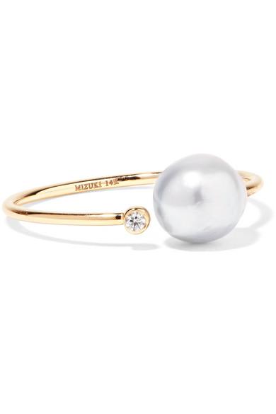 MIZUKI   14-karat gold, diamond and pearl ring  $475