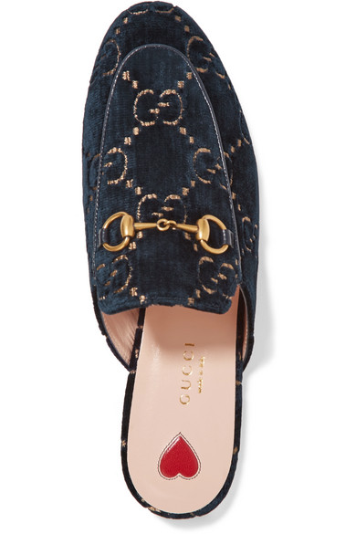 GUCCI   Princetown horsebit-detailed leather-trimmed embroidered velvet slippers  $790