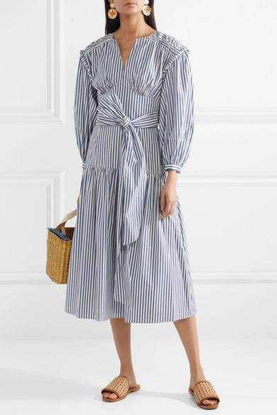 SEA   Riveria striped cotton-blend poplin midi dress  $485