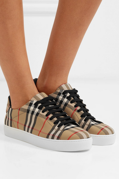 BURBERRY   Checked canvas sneakers  $480