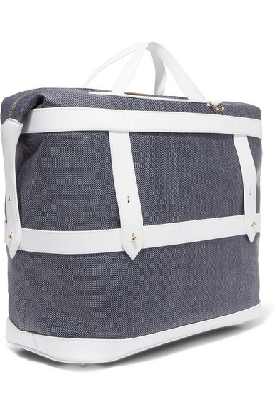 PARAVEL   Leather-trimmed canvas weekend bag  $400