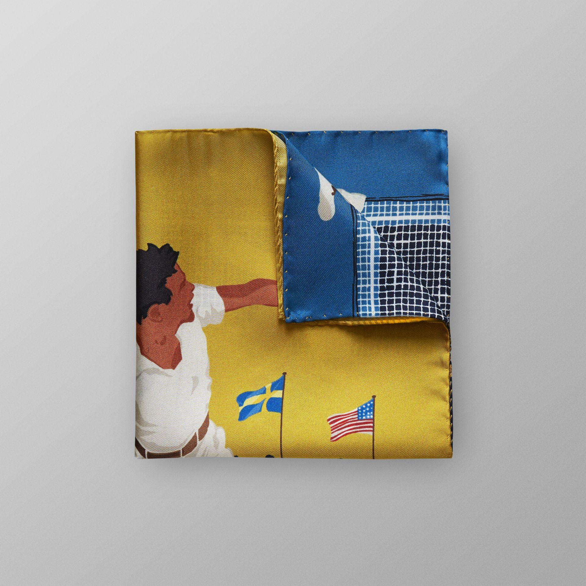 ETON  Yellow Tennis Game Pocket Square  $40