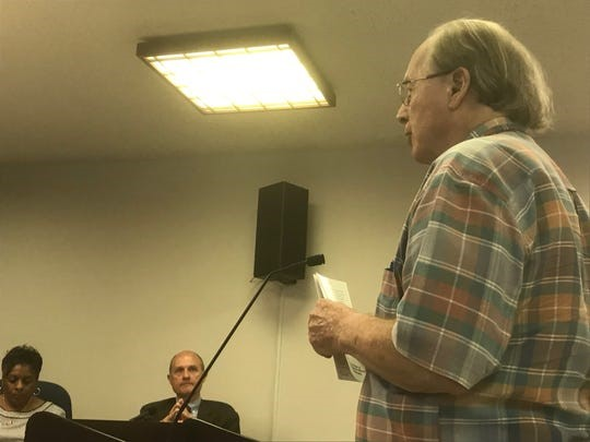 Terry Malarkey, president of the Eastern Shore of Virginia University Foundation, addresses the Accomack County Board of Supervisors on Wednesday, May 15, 2019 in Accomac, Virginia.. (Photo: Staff photo by Carol Vaughn)