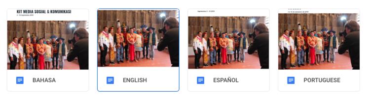 En un archivo compartido de google subimos los kit de medios en todos los idiomas.