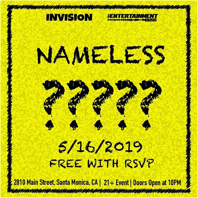 🚨Come out to @namelessnightclub in Santa Monica Thursday night for our takeover with @invisionmg . The lineup is still a secret, but you're not going to want to miss this! Doors open at 10 PM, must be 21+ to enter 🚨