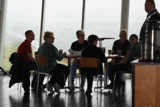 Staff and volunteers enjoying the morning coffee break in the beautiful viewing gallery.
