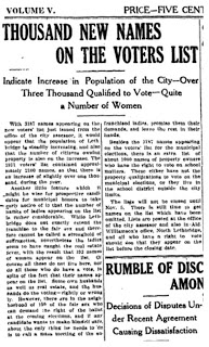 1 November 1912 Lethbridge Herald women on voting list