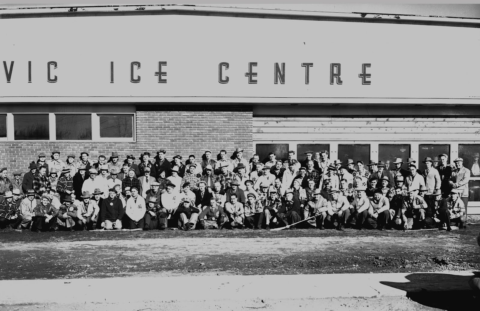 Unidentified curlers in front of Civic Ice Centre, 1949-50 .  Courtesy the Galt Museum & Archives: 19941051449B