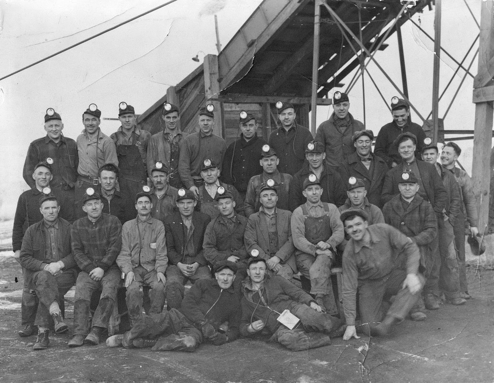 Miners in front of Royal View Mine.    Courtesy the Galt Museum & Archives: 20021054000