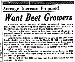 The March 30, 1962 Lethbridge Herald article that inspired this article.