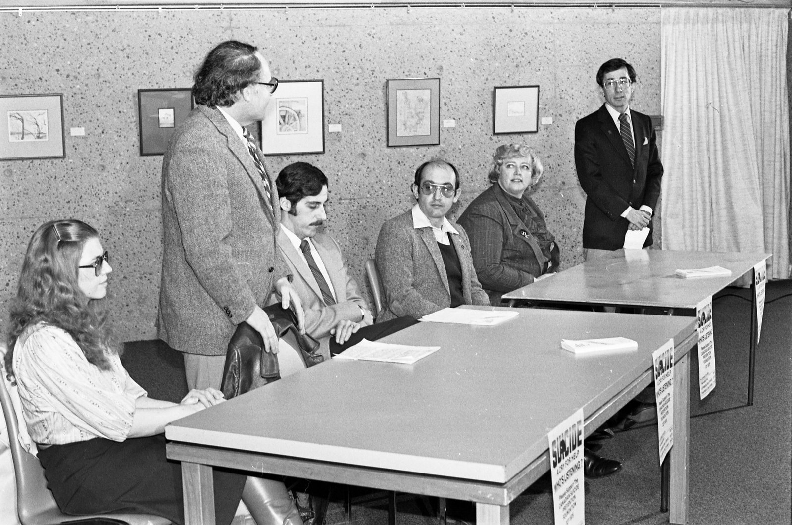 From left to right: Dr. Jean Collins, founder of the Samaritans; Dr. Menno Boldt, President; Dr. Robert Arms, U of L Psychologist; Tom Wickersham, City of Lethbridge Firefighter (future Fire Chief and Alderman); Mary Oordt, Vice President, CMHA Board member; Bob Tarleck, teacher, Alderman and future Mayor of Lethbridge.