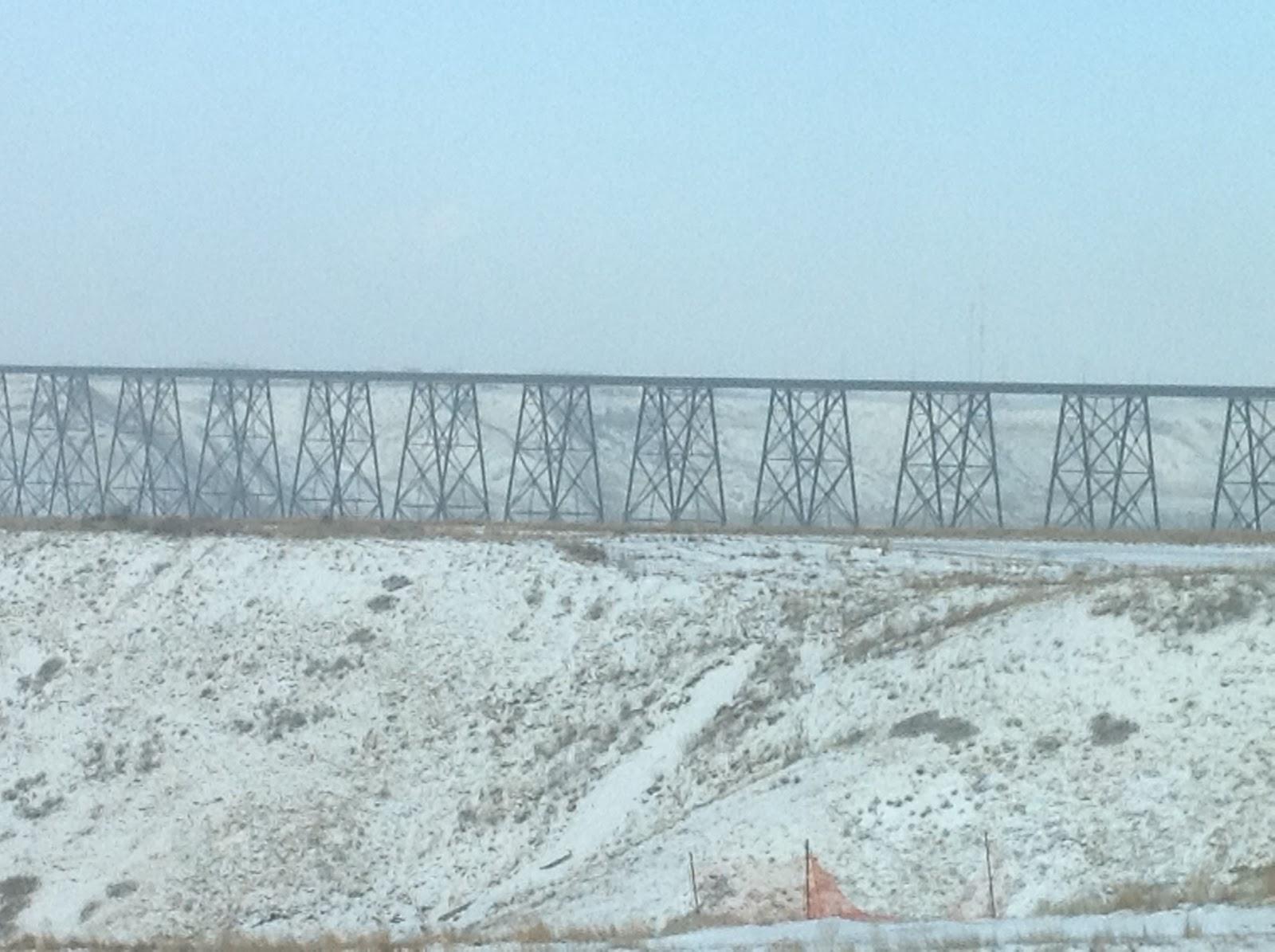 Lethbridge's High Level Bridge after snow, January 2013, photo by Belinda Crowson