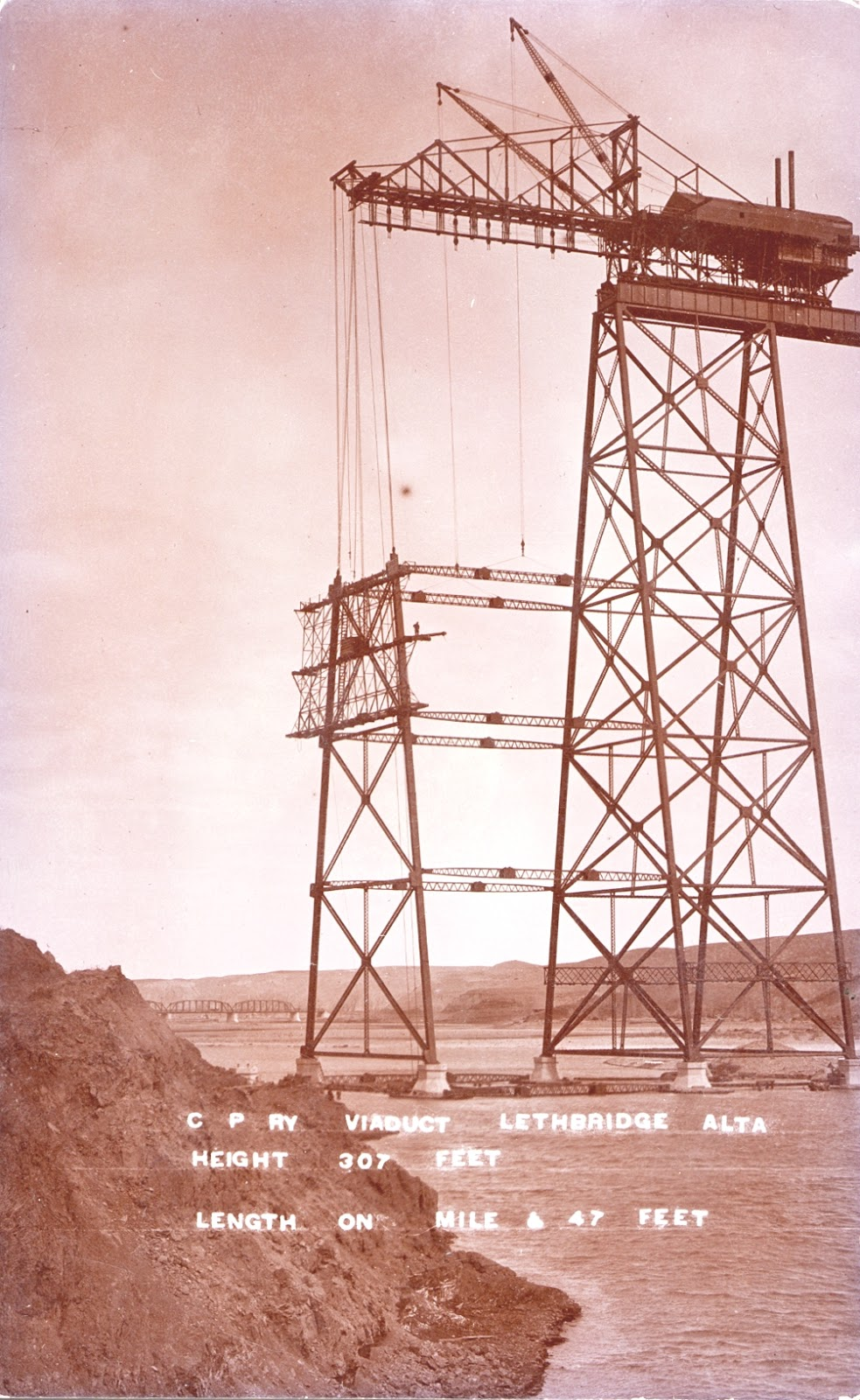 Construction of the High Level Bridge  Courtesy the Galt Museum & Archives: 19760234021