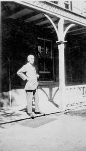 Dr. Walter Stuart Galbraith on the steps of the Galt Hospital. Galt Archives 19760225003