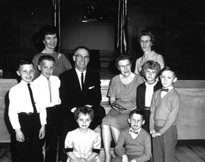 Group of teachers and students posed at the Galbraith 50th Anniversary Celebrations. Galt Archives 19752314261