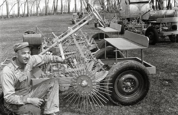 Andrew Briosi with one of his inventions.  Courtesy the Galt Museum & Archives: 19754021026