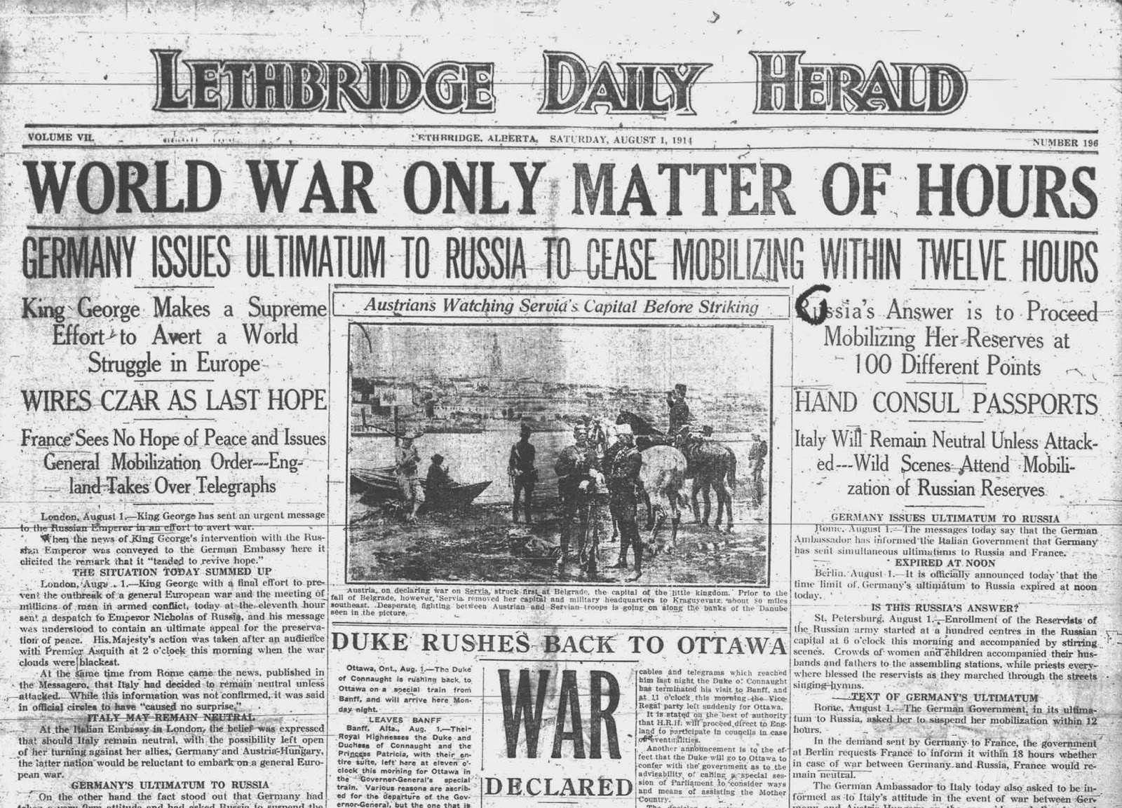 August 1, 1914 Lethbridge Daily Herald cover